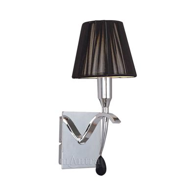 Siena Switched Wall Lamp 1 Light Polished Chrome With Black Silk String Shade And Clear Crystal