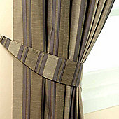 Homescapes Grey Jacquard Tie Back Pair Modern Striped Design