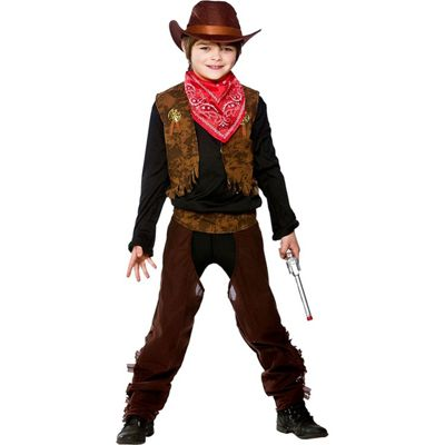 Wild West Cowboy Childrens Fancy Dress Costume Waistcoat, Chaps, Bandana & Hat-Small 3-4 Years