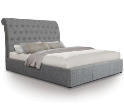 Extra Tall Scroll Fabric Ottoman Gas Lift Storage Bed - Double - Grey