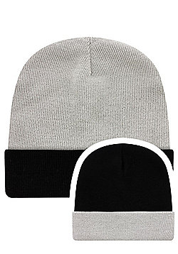 Grey & Black Reversible Slouch Beanie - Grey