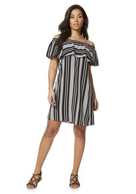 F&F Striped Bardot Dress Black/White 10
