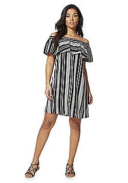 F&F Striped Bardot Dress - Black/White