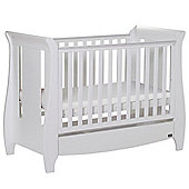 Tutti Bambini Katie Mini Cot Bed, Drawer and Sprung Mattress - White.