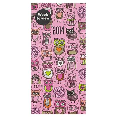 Owls Casebound 2014 Diary Slim Week To View