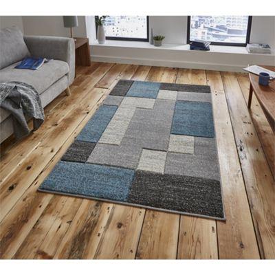 Matrix Modern Grey & Blue Rug - 160x220cm