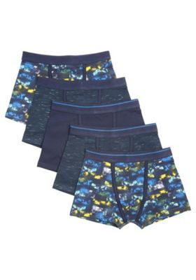 F&F 5 Pack of Blurred Print and Space Dye Trunks with As New Technology Navy 5-6 years