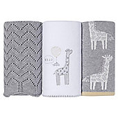 Silver Cloud Grey Blanket Set Giraffe