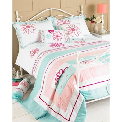 Riva Home Harriet Duck Egg & Pink Bedspread - 240x260cm