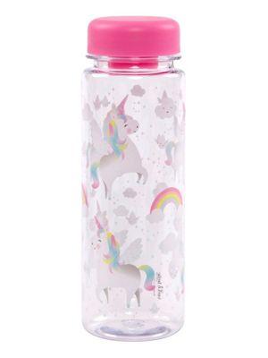 Rainbow Unicorn Clear Water Bottle 6.5 x 19cm, Pink