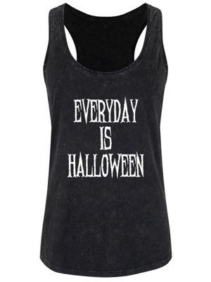 Everyday Is Halloween Women's Black Acid Wash Racerback Vest