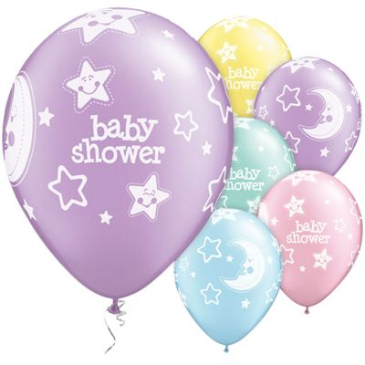 Baby Shower Moon & Stars Assortment 11 inch Latex Balloons - 25 Pack