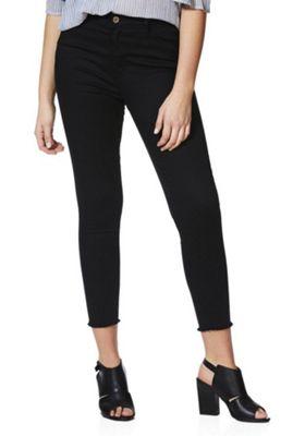 F&F Mid Rise Push-Up Raw Hem Skinny Jeans Black 22 Regular leg