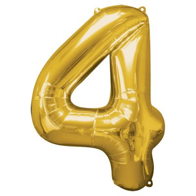 Gold Number 4 Balloon - 34 inch Foil