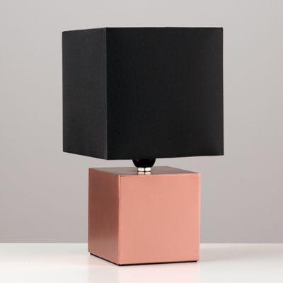 Cube Design Touch Table Lamp, Copper & Black