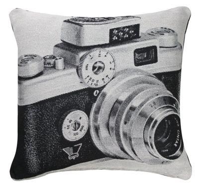 Black and White Cushion Retro Camera Photographic Close up