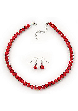 Red Glass Bead Necklace & Drop Earring Set In Silver Metal - 38cm Length/ 4cm Extension