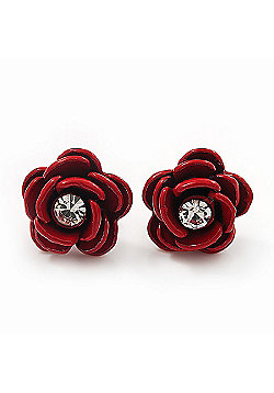 Small Red Enamel Diamante 'Rose' Stud Earrings In Silver Finish - 10mm Diameter