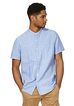 F&F Linen Blend Chambray Collarless Short Sleeve Shirt - Blue