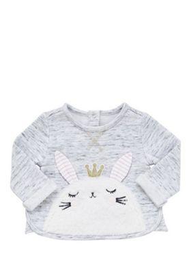 F&F Bunny Face Appliqu© Sweatshirt 12-18 mths Grey