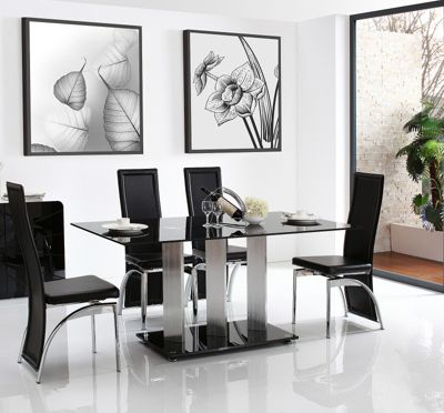 Vienna Black Glass 160 cm Dining Table with 4 Black Alisa Chairs