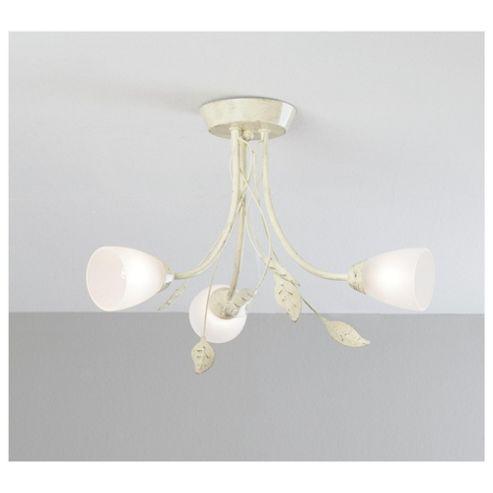 Tesco Lighting Autumn Leave 3 Arm Ceiling Light, Antique Cream