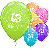 13th Around Assortment 11 inch Latex Balloons - 25 Pack