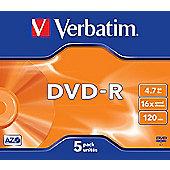 Verbatim VB-DMR47JCA DVD-R Matt Silver 4.7 GB 16x Jewel Case 5 pcs
