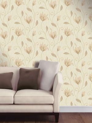 Synergy Floral Glitter Wallpaper Soft Gold Vymura M0868