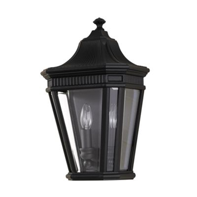 Black Half Wall Lantern - 2 x 60W E14