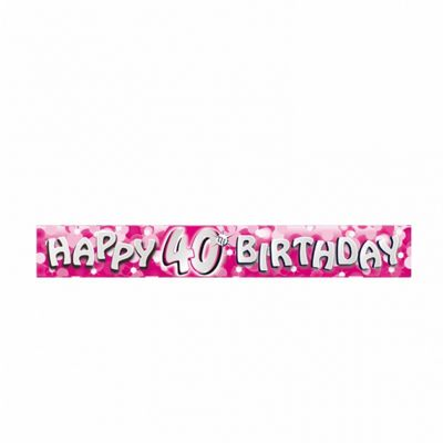 Happy 40th Birthday Pink Banner - Party - Amscan