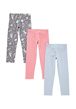 F&F 3 Pack of Space Print and Plain Leggings - Multi