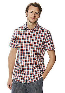 F&F Checked Short Sleeve Shirt - Navy & Orange