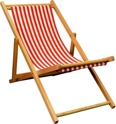 Harbour Housewares Garden Deck Chair - 3 Positions - Red / White Stripe