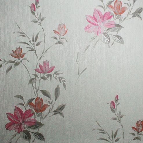 Superfresco Reed Metallic Floral Pink Wallpaper