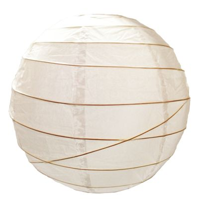 Loxton Lighting Irregular Bamboo Paper Lantern in White - 30cm