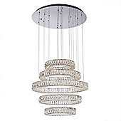 Litecraft Eternity 5 Tiered LED Prism Bar Ceiling Pendant, Chrome and Glass