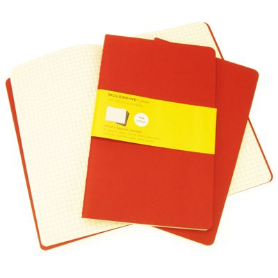 Moleskine Cahier Squared Large 3 Pack Red Cover