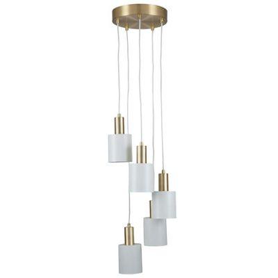 White & Brass 5 Drop Electrified Pendant