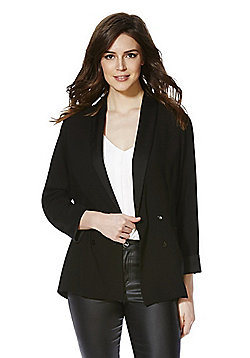 F&F Crepe Unlined Double Breasted Blazer - Black