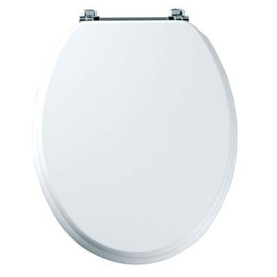 Tavistock Premier WHITE Wood Veneer Toilet Seat with Bar Hinges and Non-slip Buffers