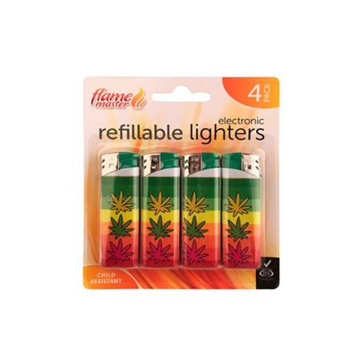 Flame Master Electronic Lighter, Refillable, Child Resistant, Pack of 4