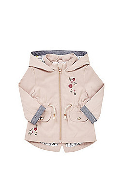 F&F Floral Embroidered Woven Mac - Blush pink