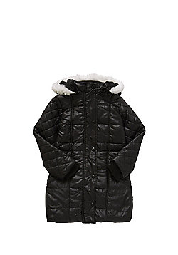 Minoti Quilted Sleeve Faux Fur Trim Padded Coat - Black