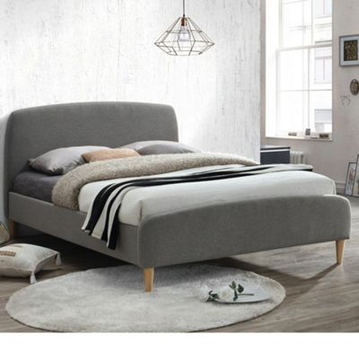 Happy Beds Quebec Fabric Low Foot End Bed with Orthopaedic Mattress - Grey - 4ft Small Double