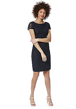 Roman Originals Floral Lace Pencil Dress - Navy
