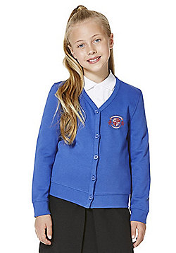 Girls Embroidered Cotton Blend School Sweatshirt Cardigan with As New Technology - Royal blue