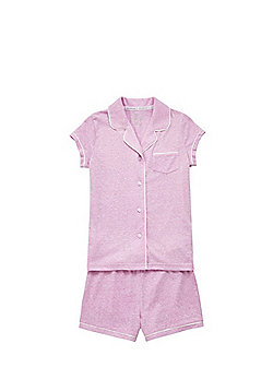 F&F Revere Collar Jersey Pyjamas - Pink