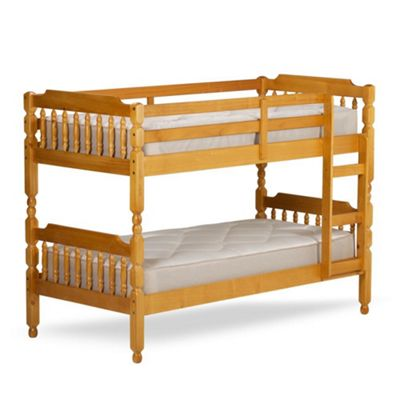Happy Beds Colonial Wood Kids Bunk Bed with 2 Memory Foam Mattresses - Honey Pine - 3ft Single