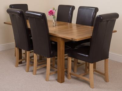 Cotswold Rustic Solid Oak Extending 132 - 198 cm Dining Table with 6 Brown Washington Leather Chairs
